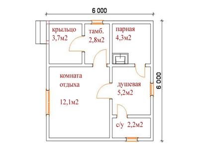 План бани 6 на 6 метров с санузлом.