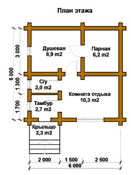 План банной постройки из бревна.