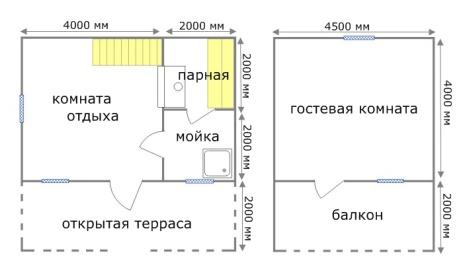 План дачного домика с банным помещением на первом этаже.