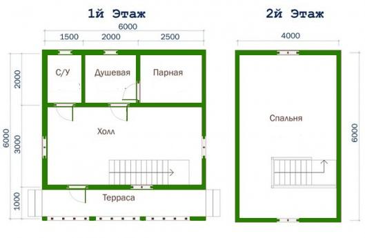 План дома-бани 6*6 м