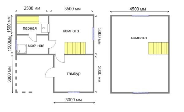План двухэтажной постройки.
