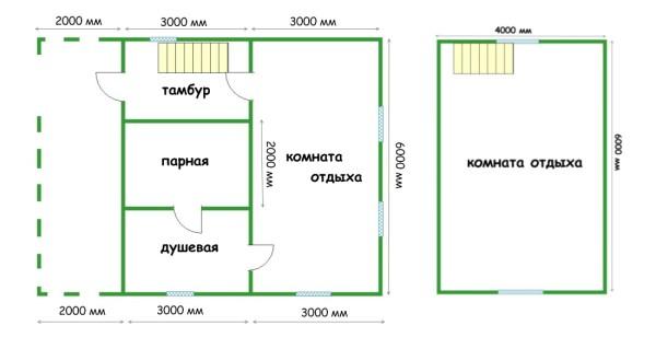 План постройки с мансардой.