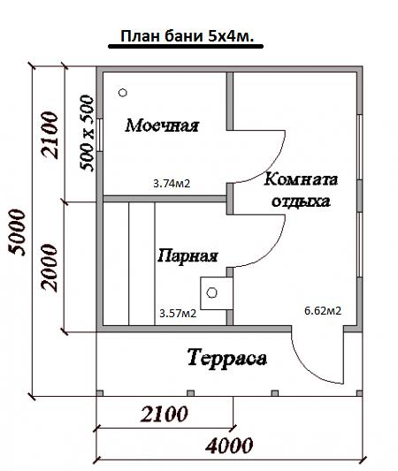 План простой дачной бани с террасой