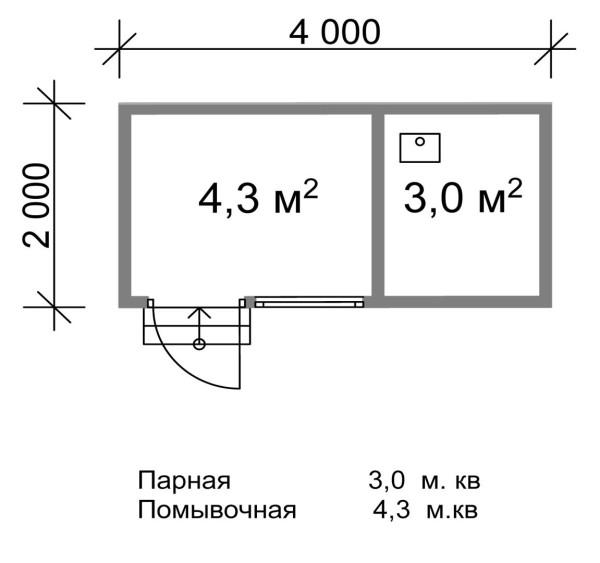 План размещения комнат в небольшой бане