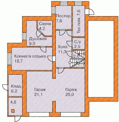План цокольного этажа трехэтажного особняка