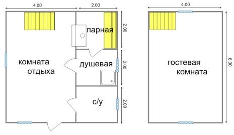 Планировка - сауна с мансардой 6 на 6 метров