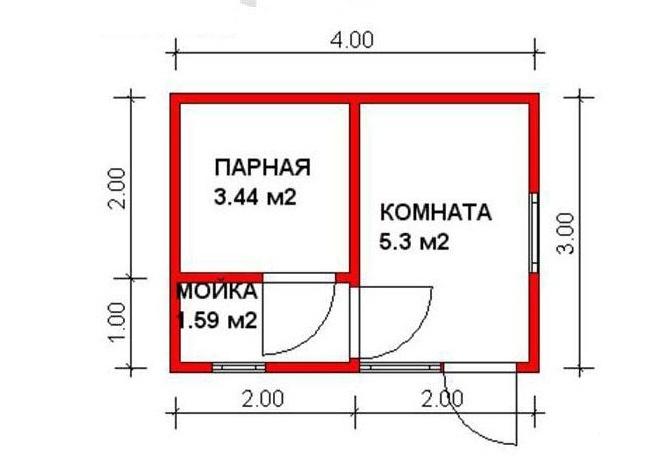 Планировка для бани небольших размеров.
