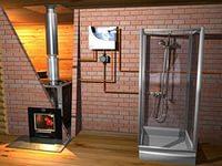 Подключение системы к душевой кабине.
