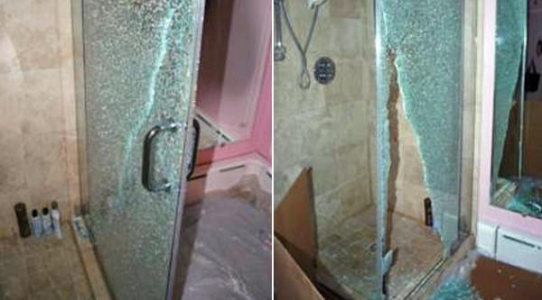 При разбивании стекло рассыпается на тупые осколки