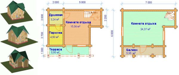 Пример проекта бани из бревен