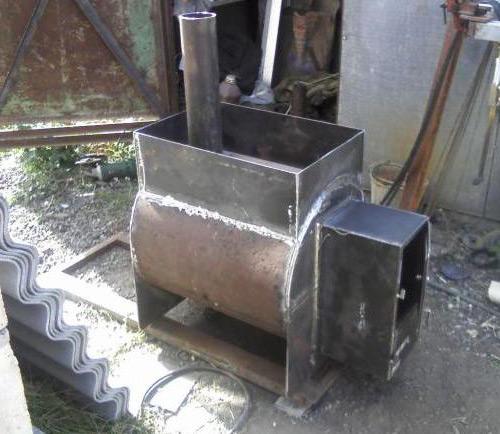 Пример самодельной печи из металла.