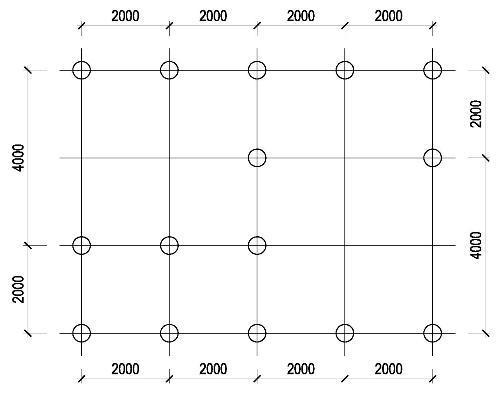 Примерный вариант расположения опорных стоек на схеме.