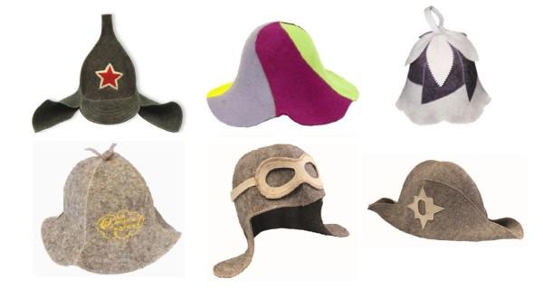 Примеры весёлых банных шапок