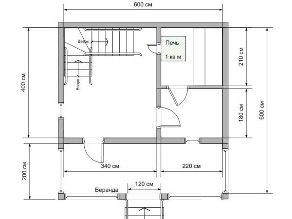 Проект бани 6х4 с террасой и мансардой