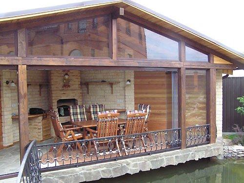 Проект бани с беседкой под одной крышей, когда она с домом является одним целым