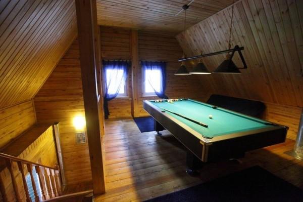 Проект деревянной бани с бильярдом на мансардном этаже