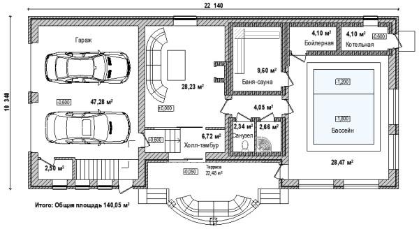 Проект гаража на 2 машины с баней – можно пригласить много гостей