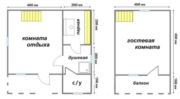 Проект с гостевой комнатой и санузлом. Баня превращается в полноценный дачный домик.