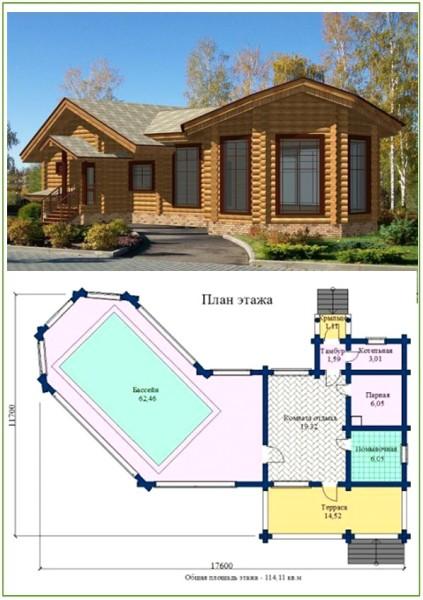 Проекты комбинированных бань могут иметь отдельно располагающиеся бассейны