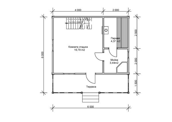 Простейшая планировка бани размером 6х6 метров