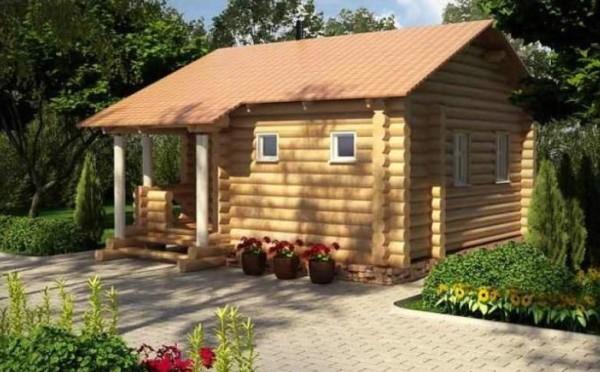 Рациональный вариант бани с комнатой - одноэтажное строение, т.к. лишь одна стена общая.