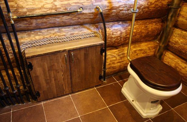 Размещение сантехнического оборудования в рубленой бани