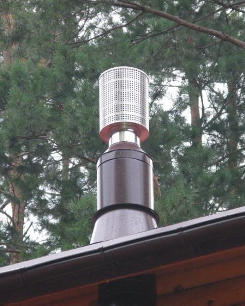 Сетчатый искрогаситель на дымоходе в бане