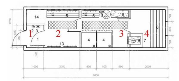 Схема расположения комната в бане-вагончике