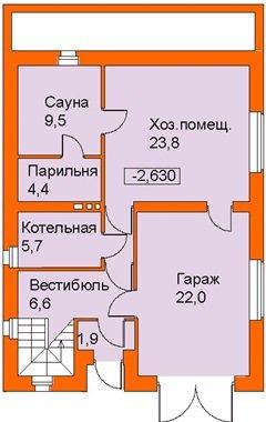 Схема размещения гаража и сауны в цокольном этаже
