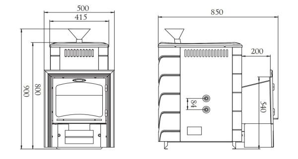 Схема заводской продукции с обозначением основных габаритов