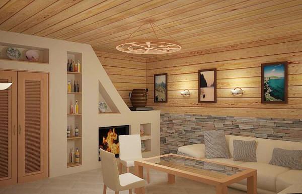 Современная внутренняя отделка комнаты отдыха в бане: фасадные панели по периметру комнаты.