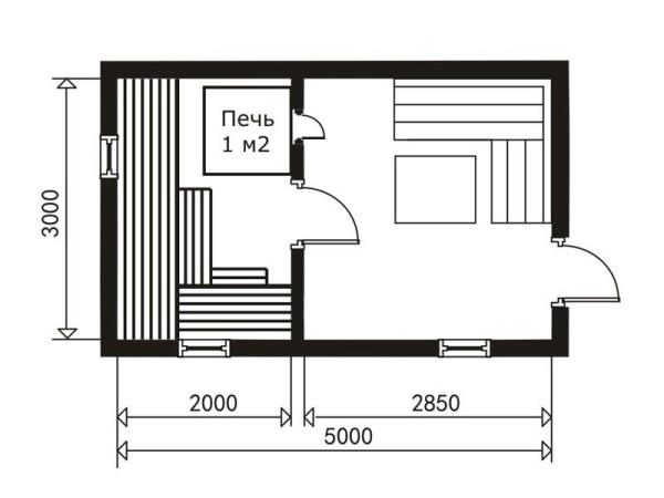 Сруб бани 3 на 5 на 5 метров – план.