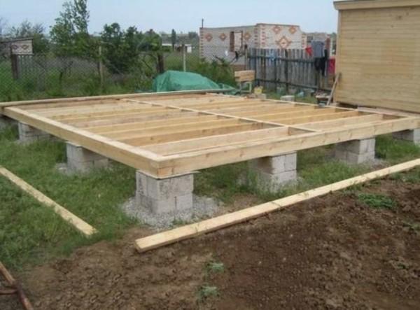 Столбчатый фундамент из блоков на деревянной опалубке.