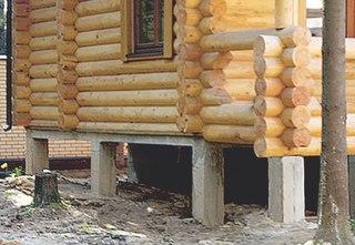 Столбчатый фундамент террасы