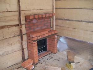 Строительство кирпичной каменки. Вид из гостевой комнаты