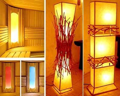 Светильники для бань и саун отличаются большим разнообразием – вот варианты самодеятельного творчества, которым могут позавидовать и профессиональные дизайнеры