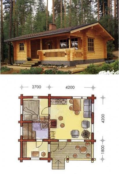 Так может выглядеть одноэтажный дом с баней. Внешний вид и проект.