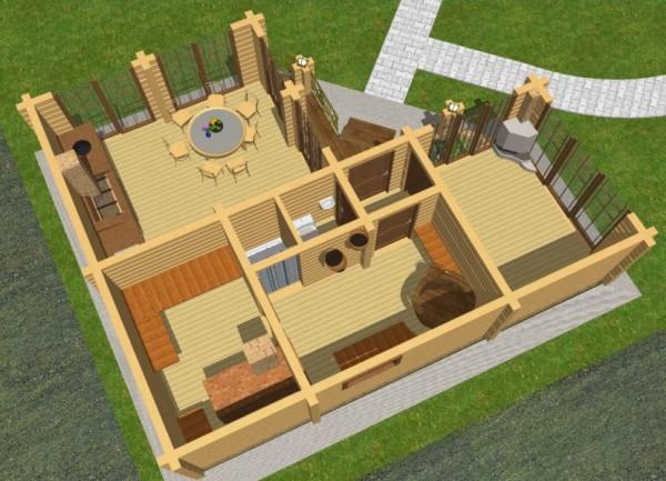 Трехмерный проект бани угловой формы с барбекю и верандой