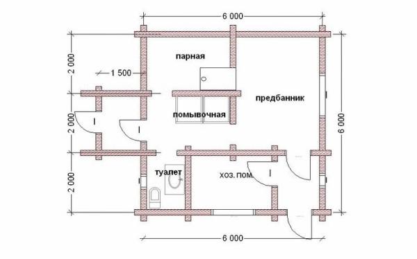 Туалет в бане - вариант планировки