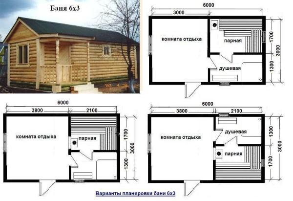 Удачные примеры планировки бани с оговариваемыми размерами.