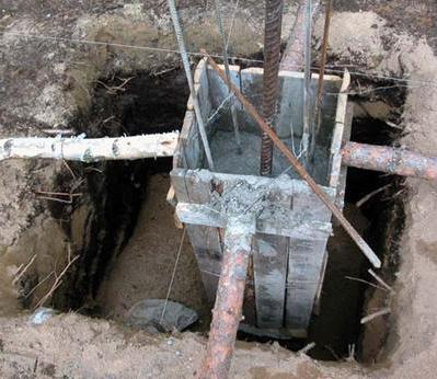 Установка опалубки под заливку бетона