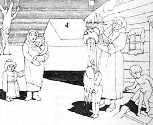 В русской бане закаляли маленьких детей даже зимой.