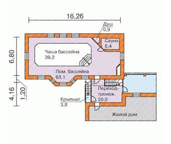 Вариант проекта с указанием размеров и площадей